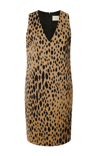 Printed satin and crepe shift dress by FAUSTO PUGLISI Now Available on Moda Operandi