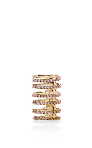 Stripes ear cuff in pink gold by ELISE DRAY for Preorder on Moda Operandi