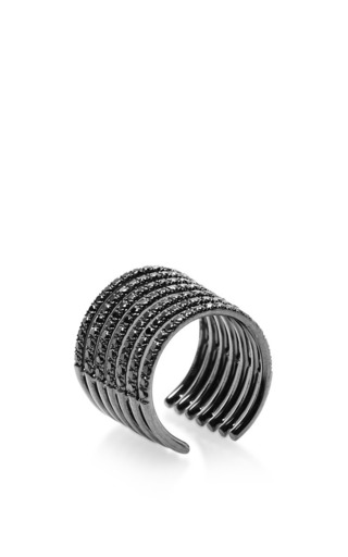 Stripes ring in black gold by ELISE DRAY for Preorder on Moda Operandi