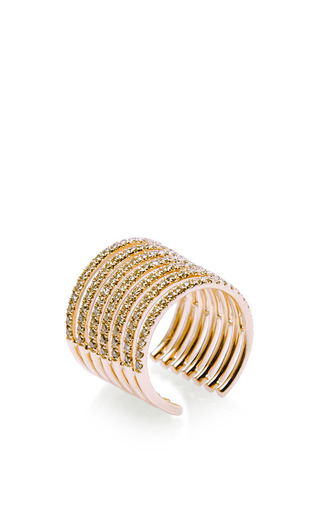 Stripes ring in pink gold by ELISE DRAY for Preorder on Moda Operandi