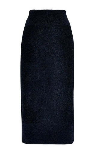 Sonia Rykiel - Light Wool Intarsia Needle Punch Print Skirt
