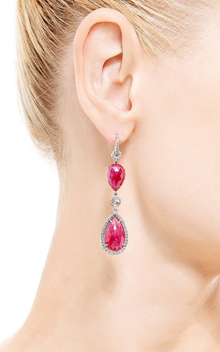 One Of A Kind Ruby Dangle Earrings With Diamonds by Nina Runsdorf for Preorder on Moda Operandi