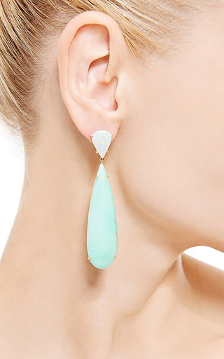 One Of A Kind Chrysoprase And Opal Earrings by Nina Runsdorf for Preorder on Moda Operandi