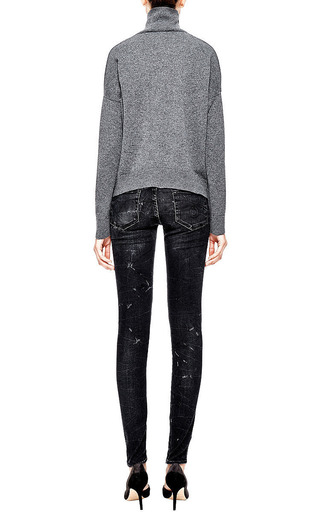 R13 - Marble-Effect Distressed Skinny Jeans