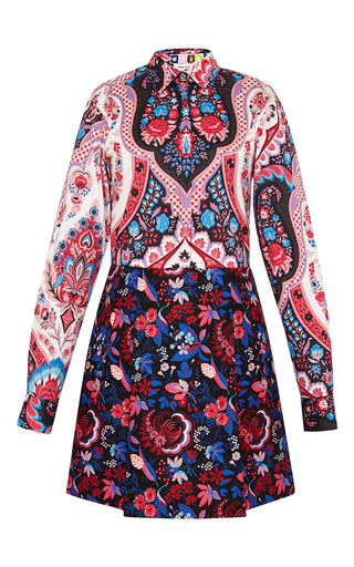 Mixed print long sleeve dress by MSGM Available Now on Moda Operandi