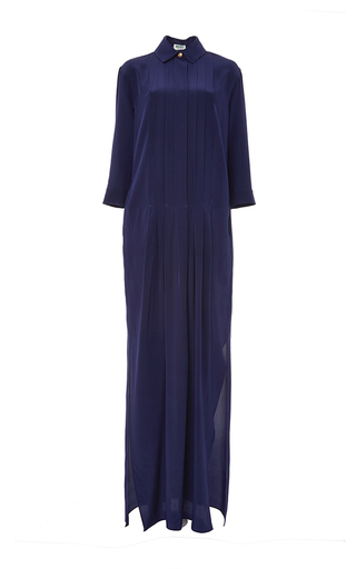 Navy silk crepe de chine long sleeve gown by KENZO Available Now on Moda Operandi