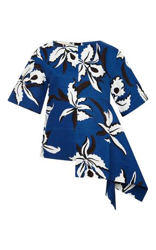 Linen asymmetrical floral print top by MARNI Available Now on Moda Operandi