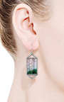 One Of A Kind Bicolor Tourmaline Emerald And Cut Pave Diamond Drop Earrings by Jemma Wynne for Preorder on Moda Operandi