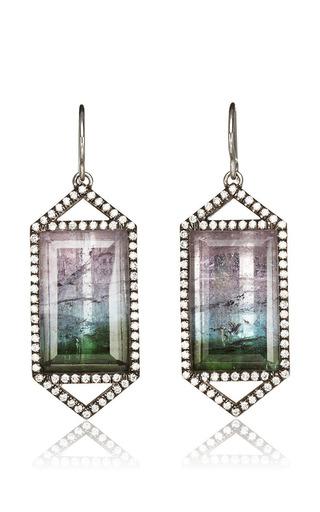 Jemma Wynne - One Of A Kind Bicolor Tourmaline Emerald And Cut Pave Diamond Drop Earrings