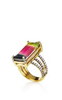 Jemma Wynne - One Of A Kind Emerald Cut Tourmaline Ring With Triple Pave Diamond Band