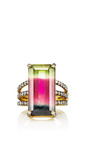 One Of A Kind Emerald Cut Tourmaline Ring With Triple Pave Diamond Band by Jemma Wynne for Preorder on Moda Operandi