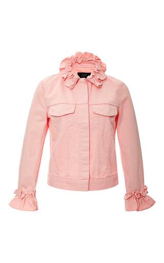 Campbell ruffled denim jacket in pink by J. BRAND X SIMONE ROCHA Available Now on Moda Operandi
