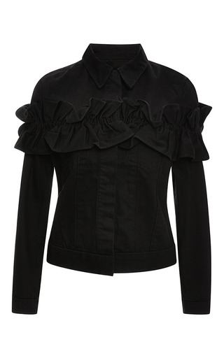 Campbell ruffled denim jacket in black by J. BRAND X SIMONE ROCHA Now Available on Moda Operandi