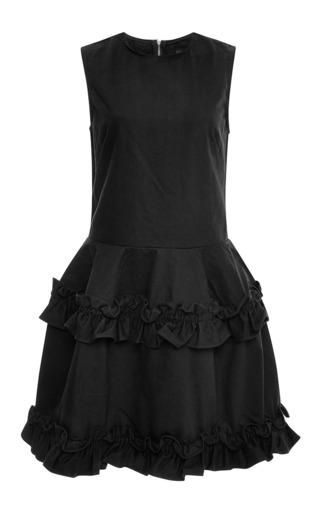 Tiered ruffled-hem denim dress in black by J. BRAND X SIMONE ROCHA Now Available on Moda Operandi