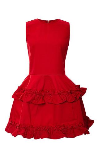 Tiered ruffled-hem dress in red by J. BRAND X SIMONE ROCHA Available Now on Moda Operandi