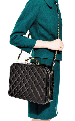Vintage Chanel Black Quilted Patent Bag From What Goes Around Comes Around by What Goes Around Comes Around for Preorder on Moda Operandi