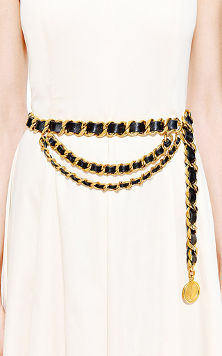 Vintage Chanel Black Gold Heavy Chain Belt From What Goes Around Comes Around by WHAT GOES AROUND COMES AROUND for Preorder on Moda Operandi