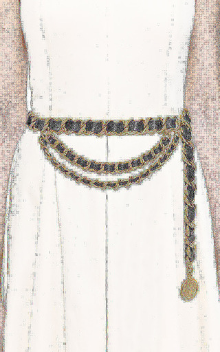 What Goes Around Comes Around - Vintage Chanel Black Gold Heavy Chain Belt From What Goes Around Comes Around