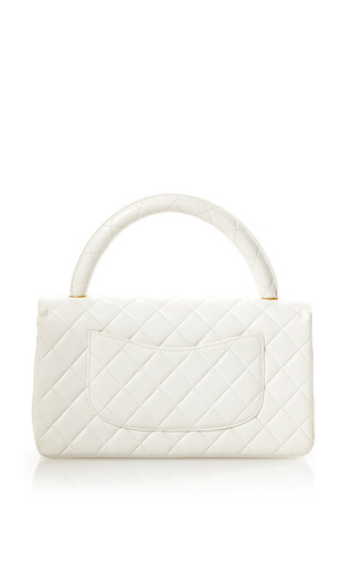 Vintage Chanel White Leather Handle Bag From What Goes Around Comes Around by WHAT GOES AROUND COMES AROUND for Preorder on Moda Operandi