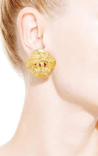 What Goes Around Comes Around - Vintage Chanel Gold CC Cross Earrings from What Goes Around Comes Around