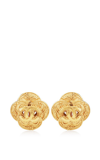 Vintage Chanel Gold CC Cross Earrings from What Goes Around Comes Around by What Goes Around Comes Around for Preorder on Moda Operandi
