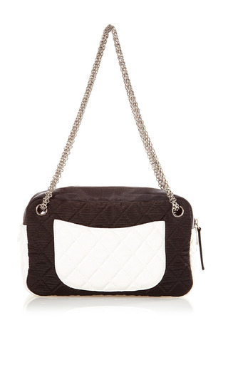 What Goes Around Comes Around - Vintage Chanel Black and White Grosgrain Bag from What Goes Around Comes Around