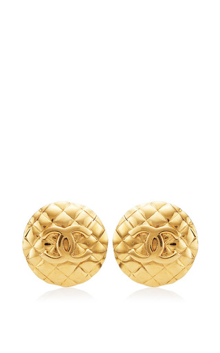 What Goes Around Comes Around - Vintage Chanel Gold Large Round Earrings from What Goes Around Comes Around