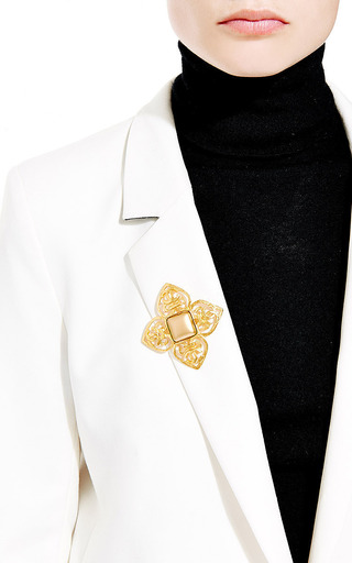 What Goes Around Comes Around - Vintage Chanel Gold Cross Stone Brooch from What Goes Around Comes Around