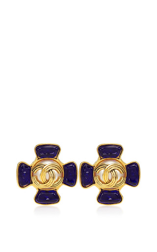 Vintage Chanel Cc Blue Gripoix Pearl Flower Earrings From What Goes Around Comes Around by WHAT GOES AROUND COMES AROUND for Preorder on Moda Operandi