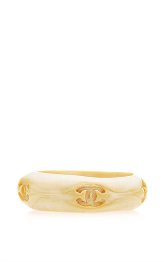 What Goes Around Comes Around - Vintage Chanel Cream Lacquer Thick Bangle From What Goes Around Comes Around
