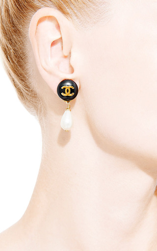 Vintage Chanel Black Pearl Drop Earring From What Goes Around Comes Around by What Goes Around Comes Around for Preorder on Moda Operandi