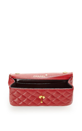 Vintage Chanel Red Mini Half Flap Bag From What Goes Around Comes Around by What Goes Around Comes Around for Preorder on Moda Operandi