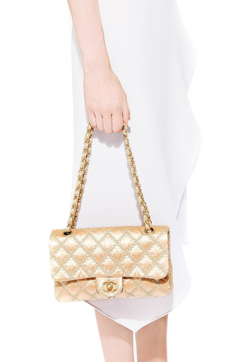 What Goes Around Comes Around - Vintage Chanel Pink Satin Tan Stitch Handbag From What Goes Around Comes Around