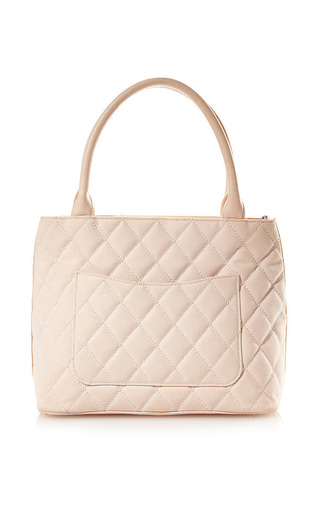 What Goes Around Comes Around - Vintage Chanel Pink Canvas Quilted CC Bag From What Goes Around Comes Around