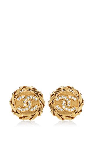 What Goes Around Comes Around - Vintage Chanel Crystal CC Round Earrings From What Goes Around Comes Around