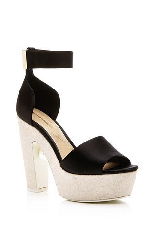 Embellished silk-satin and cork platform sandals by NICHOLAS KIRKWOOD Available Now on Moda Operandi