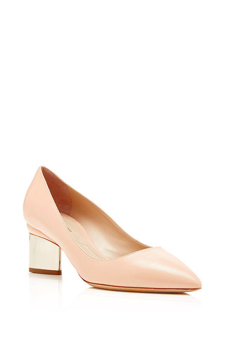 Metallic-heel leather pumps by NICHOLAS KIRKWOOD Now Available on Moda Operandi