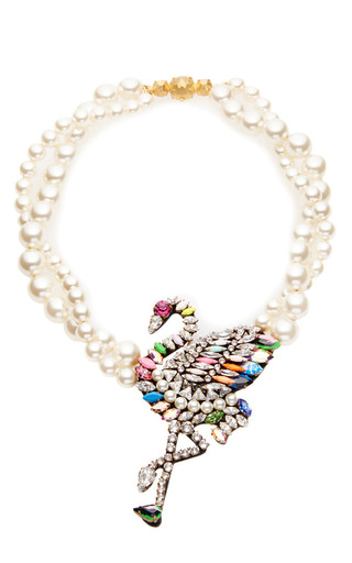 Flamingo crystal and faux pearl necklace by SHOUROUK Available Now on Moda Operandi