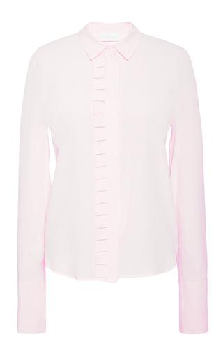 Ashlar detail shirt in dusty pink silk crepe by OSMAN Preorder Now on Moda Operandi