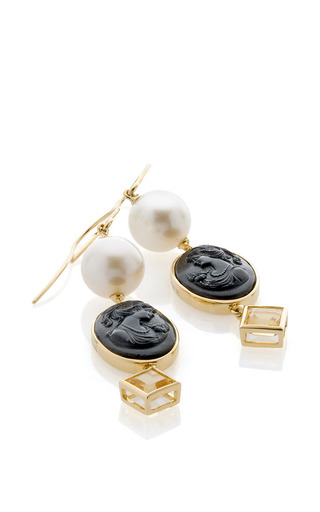 18K Yellow Gold Pearl Black Venetian Glass And Citrine Earrings by Bahina for Preorder on Moda Operandi