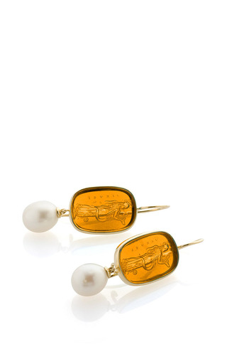 18K Yellow Gold Pearl And Amber Venetian Glass Earrings by Bahina for Preorder on Moda Operandi