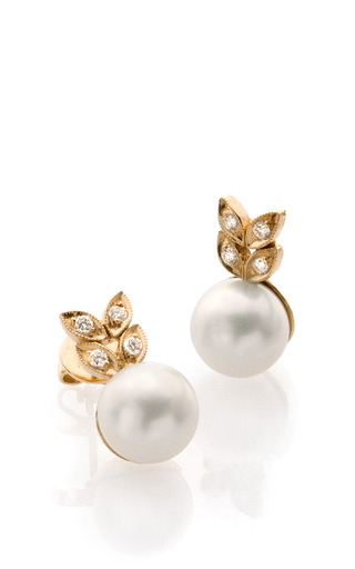 18K Yellow Gold Pearl And Diamond Studs by Bahina for Preorder on Moda Operandi