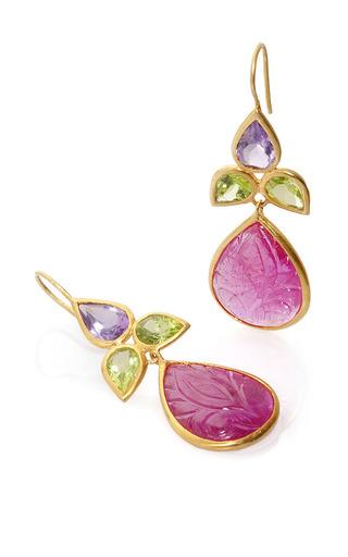 Bahina - 18K Yellow Gold Ruby Peridot And Amethyst Earrings