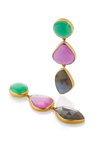 18K Yellow Gold Chrysoprase Glass-Filled Ruby And Labradorite Studs by Bahina for Preorder on Moda Operandi