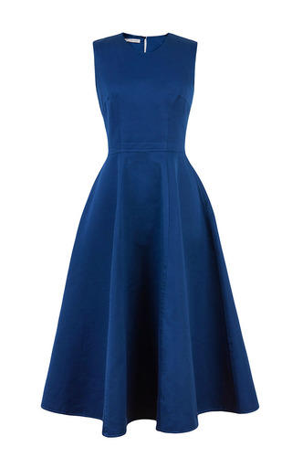Marine Blue Full Skirt Maxi Dress by Esme Vie for Preorder on Moda Operandi