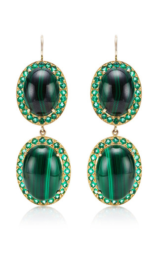 Oval Malachite Earrings by Andrea Fohrman for Preorder on Moda Operandi