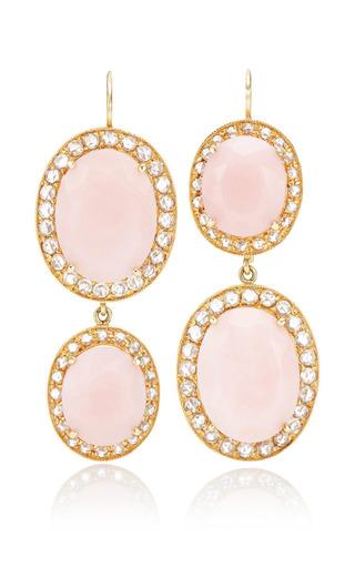 Andrea Fohrman - Unique Oval Pink Opal Earrings With Rosecut Diamonds