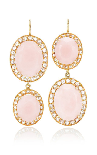 Unique Oval Pink Opal Earrings With Rosecut Diamonds by Andrea Fohrman for Preorder on Moda Operandi