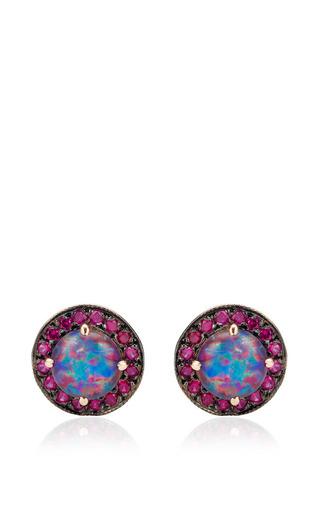 Andrea Fohrman - Unique Round Australian Opals Ruby Earrings