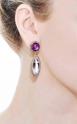 Andrea Fohrman - Round Star Ruby With Rose De France Marquis Earrings